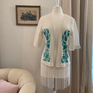 Sweaters - NWOT Embroidered Lace & Fringe Top